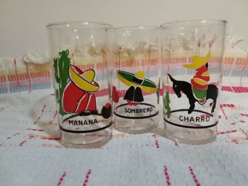 Vintage Set Of 3 Small Drinking Glasses Spanish Mexican Images Charro Sombrero