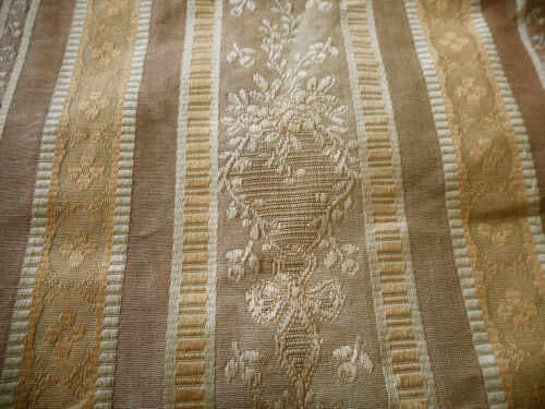Antique French Silk Lisere Brocade Fabric ~ Faded Grandeur Lavender Taupe & Gold