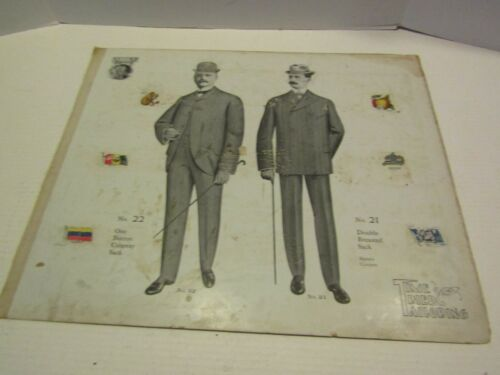 ANTIQUE VICTORIAN ADVERTISING PAPER CARDBOARD TIME TRIED TAILORING MENS SUITS 6