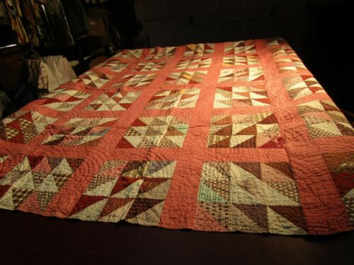 """Antique/Vintage 1880s Calico Cottage Country Triangle/Nine Patch Quilt 80"""" x 74"""""""