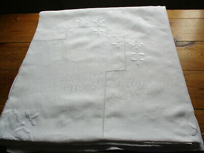ANTIQUE LINEN DOUBLE BEDSPREAD HAND EMBROIDERY WHITEWORK  FLOWERS