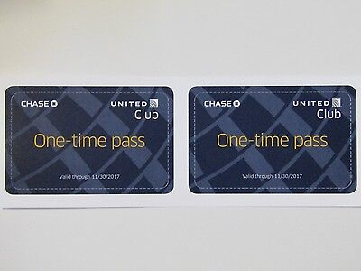 2 Passes for Chase United Club One Time Pass EXP 11/30/2017