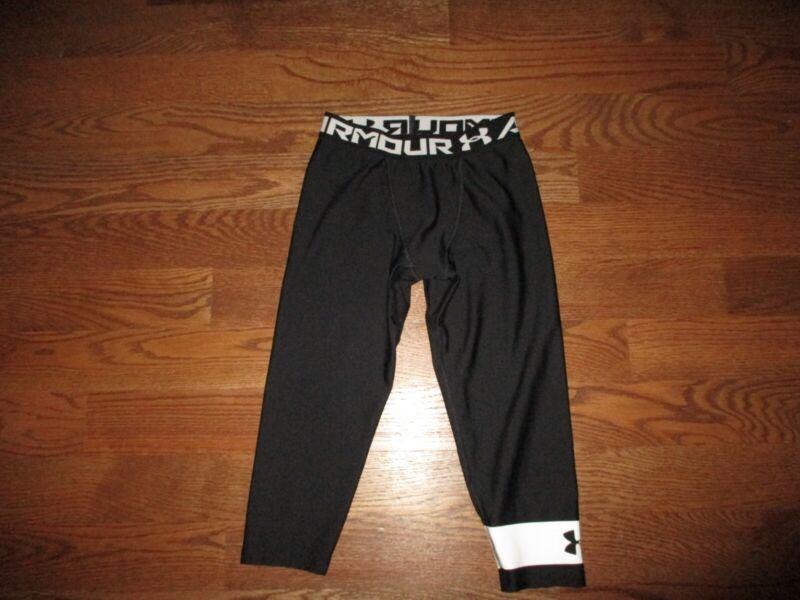 Under Armour Boys Youth Heat Gear Black Fitted 3/4 Leggings Sz. M