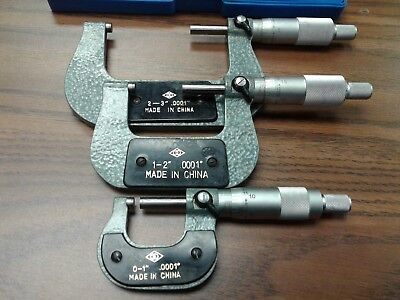 0-3 Precision Outside Micrometer Set 3pcs 0.0001 Carbide Tipped Standards-new