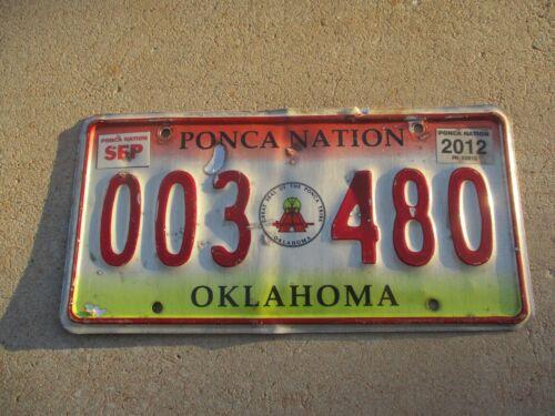 Oklahoma 2012 Ponca Nation license plate #  003 480