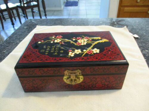 Vintage Laquered Red and Black Jewelry Box