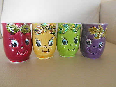 Set FOUR Porcelain Fruit & Berry Beverage Cups/Mugs, Made In Japan, Sweet Faces!