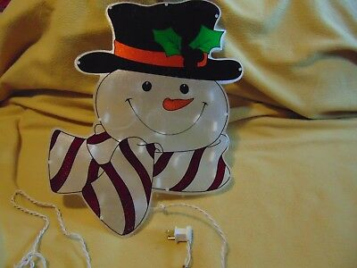 Vintage Lighted snowman Window Decor Christmas indoor Hang Holiday Party