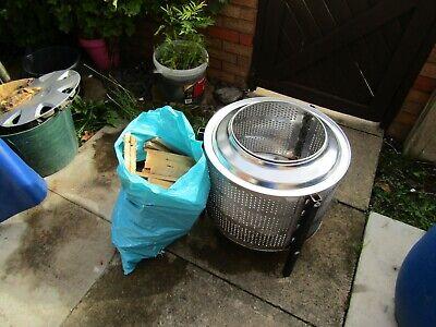 Fire Pit & wood  / Brazier / BBQ / Patio Heater - Recycled Washing Machine Drum