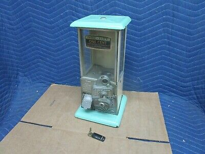 Vintage Norris Master Penny One Cent Gumball Green Tan Porcelain Vending Machine