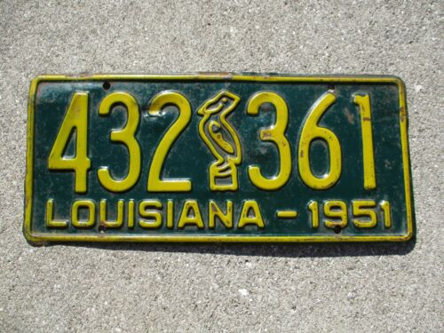 Louisiana 1951 Pelican license plate #  432  361
