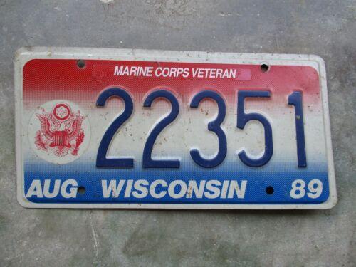 Wisconsin 1989 Marine Corps Veteran license plate #  22351