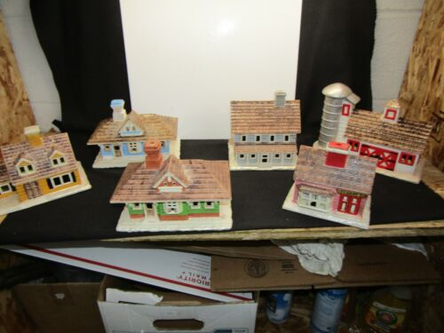 1979 - 81 Byron Molds Lot of 6 Painted Ceramic Houses Christmas Village. L21