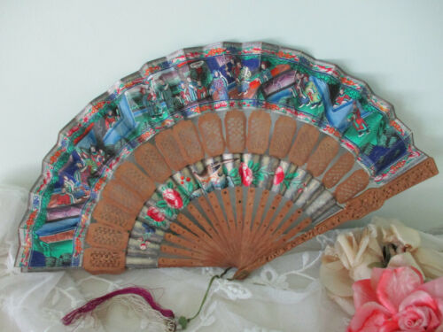 Antique Chinese Silk Fan Hand Painted Carved Wood and Paper Folding c 1800