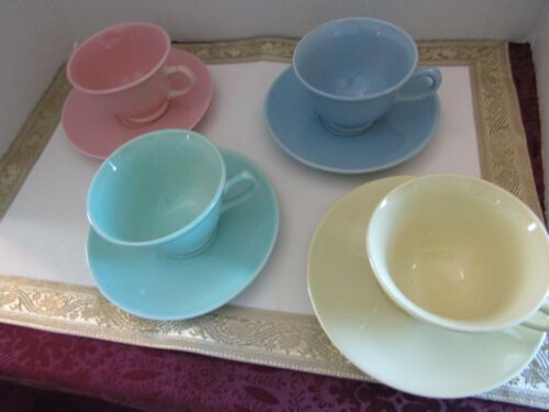 Four sets of Cups and Saucers LuRay T.S.&T. Pastels