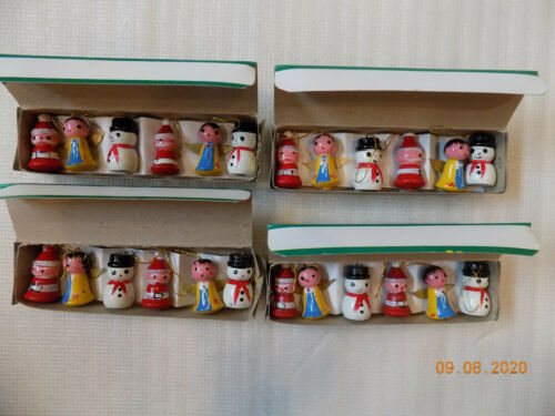 Vintage Little Folks Set of 6 Wooden Hand Painted Christmas Ornaments - Lot of 4