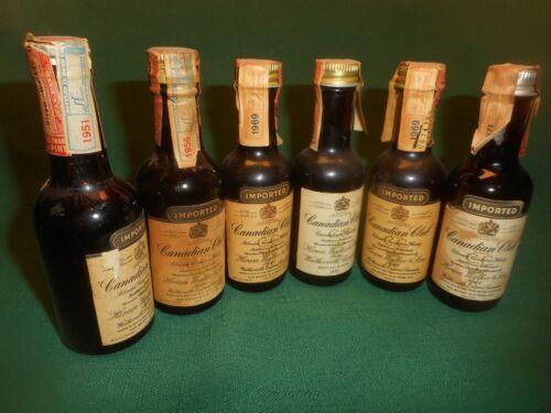 Lot of 6 Vintage CANADIAN CLUB Whisky Mini Bottles 1/10 Pint  ~  EMPTY 1951-1971