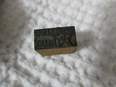Vintage Letterpress Print Block Copper Plate Sterling Paint 78 X 38