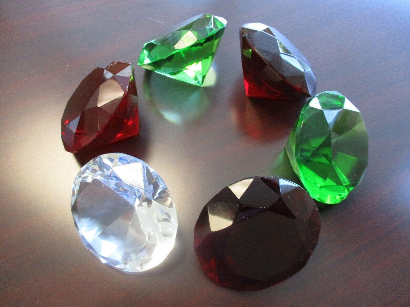 "3.25"" Glass Crystal Diamond Shape Gems Paperweights Lot"