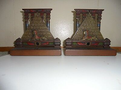 Pair Of Antique Art Deco Cast Iron Bookends Egyptian Revival Pyramid Sphinx VtG