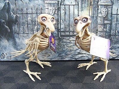 SKELETON BIRDS (2) HAUNTED HOUSE CRAZY BONES DEAD HALLOWEEN PROP Posable Home