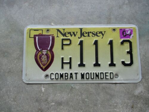 New Jersey Combat Wounded Purple Heart license plate  #  1113