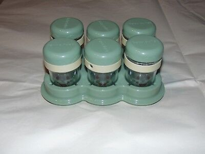 SIX BABY BULLET FOOD STORAGE JARS WITH DIAL DATE LIDS & TRAY - FREE SHIPPING
