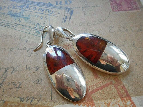 Vintage Mid Century Sterling Silver Baltic Amber Dangle Earrings  32K9