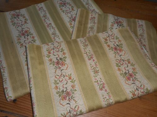 Antique French Yellow Floral Lisere Cotton Brocade Jacquard Fabric #4 ~ Aged