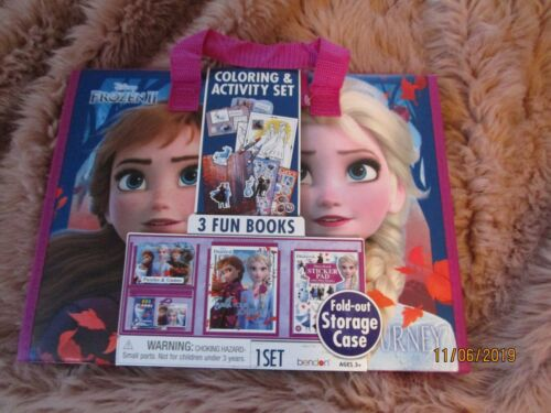 Frozen 2 II Holiday Kid Fold Out Storage Case Activity Set 3 Fun Books, Stickers