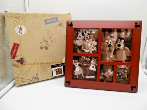 Disney Parks Mickey Mouse Icon Cherry Wood Multi-Window Photo Picture Frame