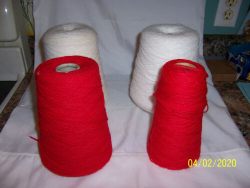 HEIRLOOM WHITE DELAINE WHITE & BRAMWELL RED Yarn on a Cone 2 Pounds 8 oz