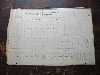 1863 Survey Plan of Land, Broadway, Cambridge, Dana, Ellery St, Cambridge, MA