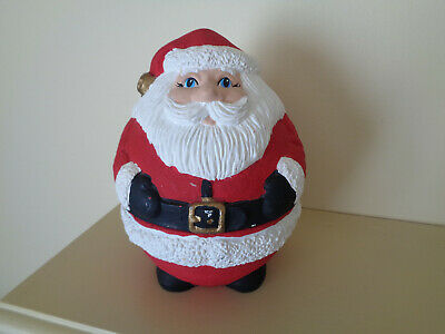 Vtg Handmade Ceramic Santa Christmas Canister Candy Cookie Jar Roly Poly Fat