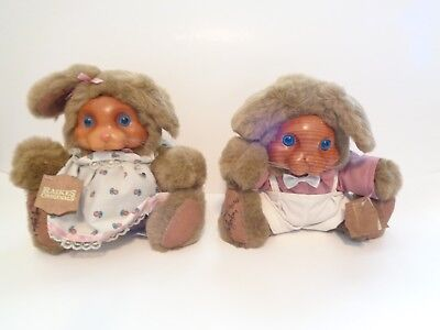 Raikes Bears Ashley # 20400 And Brett # 20401 Bunny Rabbits Signed 1989