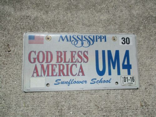 Mississippi 2016 God Bless America license plate  #  UM 4