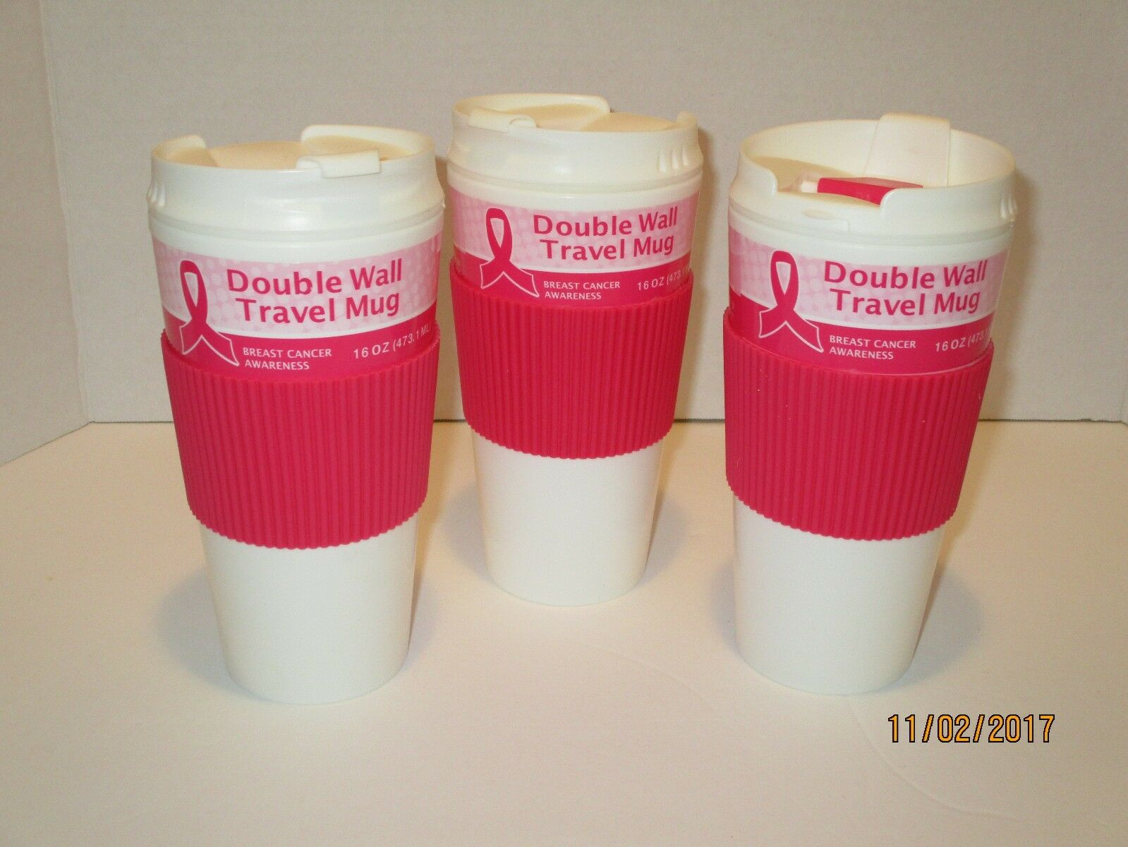 Double Wall Travel Mug 16oz - Breast Cancer Awareness, Home