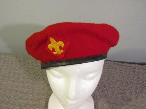 VTG Official Headwear BSA Boy Scouts Of America Red 100% Wool Beret Hat ~Medium