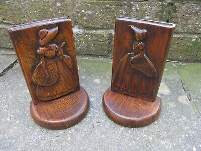 A Pair of Edwardian Carved Wooden Book Ends c1910