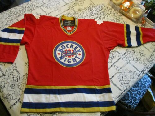 HOCKEY NIGHT IN CANADA SEWN PATCH ROGER EDWARDS BRAND JERSEY-YOUTH L/XL = MEN SM