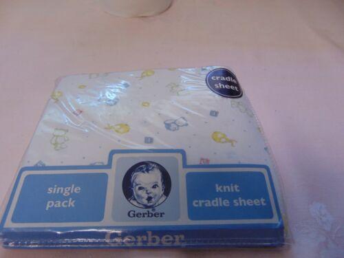 New Gerber Cotton Knit Cradle Sheet Unisex Printed Bears, Bibs & Blocks