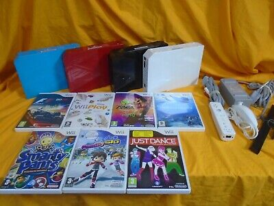 Nintendo Wii Console +7 games + Controller + nunchuk + all leads - Choose Colour
