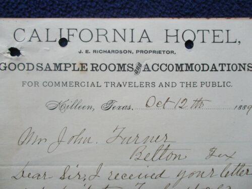 "1889 Killeen,Texas ""California Hotel"" (Proprietor) J.E. Richardson Signed Letter"