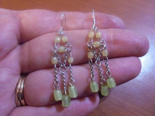 Vtg Sterling silver light green stone dangle chandelier hook earrings 2.4 grams