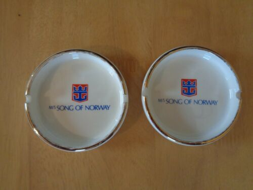 Lot of 2 Matching Vintage SONG OF NORWAY CRUISE SHIP ASHTRAYS ROYAL CARIBBEAN