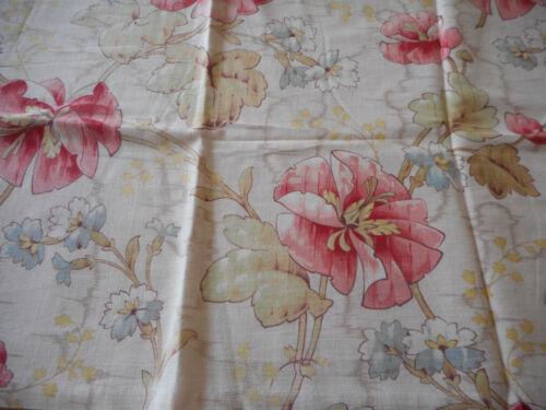 Antique French Deco Nouveau Poppy Floral Cotton Fabric ~ Pink Sage Yellow Blue