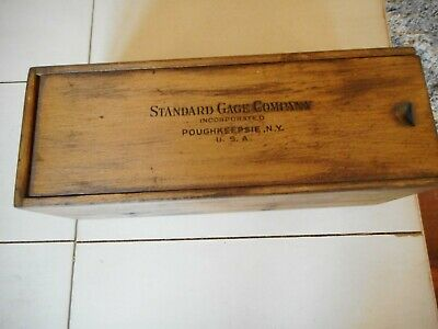 Vintage Standard Gage Company Machinist Tool Wood Box Dovetail - Empty