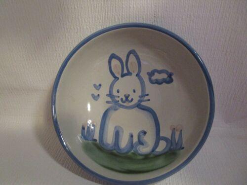 "M A Hadley Blue Bunny Rabbit 6.5"" Soup / Salad Bowl American Pottery Vintage"