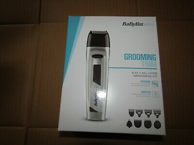 BaByliss MEN 8-in-1 All Over Grooming Kit, Face/Body Hair Clipper Shaver Trim BN