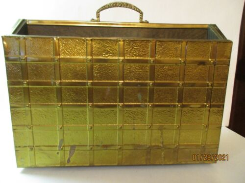 Vintage Hammered Brass Magazine Rack Holder Stand With Handle Sturdy & Heavy